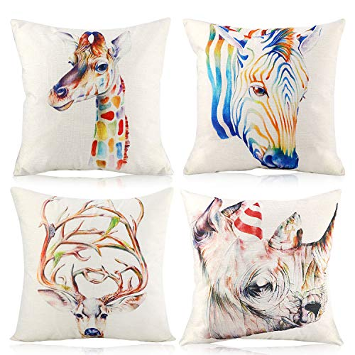 4 Pcs Rainbow Animal Theme Cushion Covers Square Throw Pillow Case Soft Cotton Linen Pillowcases for Livingroom Sofa Couch Chair Bedroom Hotel with Invisible Zipper 45cmx45cm Beige