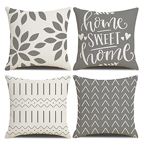 Homefeelzydys Cushion Covers,Cushion Covers 45 x 45 set of 4 Grey Square Throw Pillow Case cushion covers 18x18 4Pack For Outdoor Patio Garden Blench Living Room Sofa Farmhouse Decor