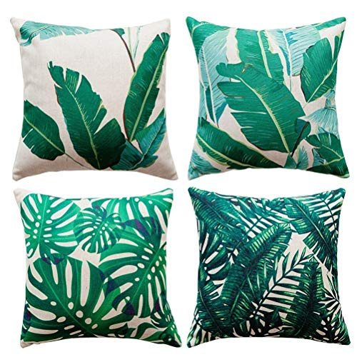 Freeas 4 Pack Tropical Leaves Cotton Linen Decorative Pillow Case Pillow Case for Cushion 45x45cm for Home Bedroom Indoor Outdoor