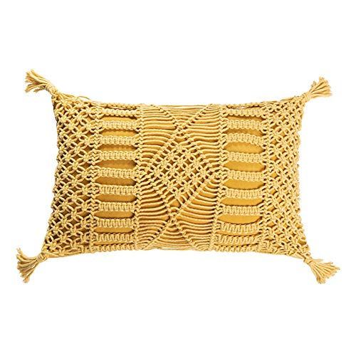 FFHJHJ Boho Style Cushion Cover Yellow Pink Grey Hand Made Woven Pillow Cover Tassels Home decoration Macrame Pillow Case For sofa Bed,E 30x50cm