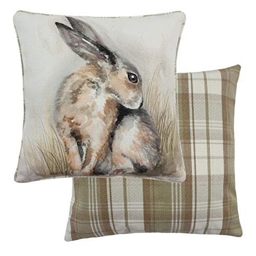 Evans Lichfield Watercolour Hare Cushion Cover, Multi, 43 x 43cm