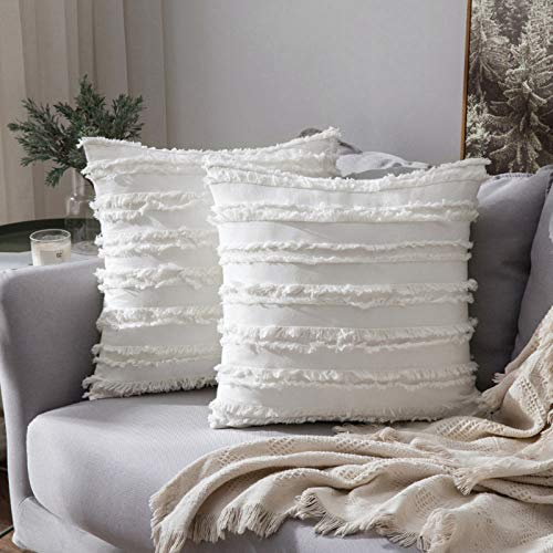 MIULEE Pack of 2 -Linen Throw Pillow Decorative Cushion Covers Tassels Design Home Soild Case for Sofa Chair Couch Bedroom Decorative Pillowcases 24x24inch 60x60cm White