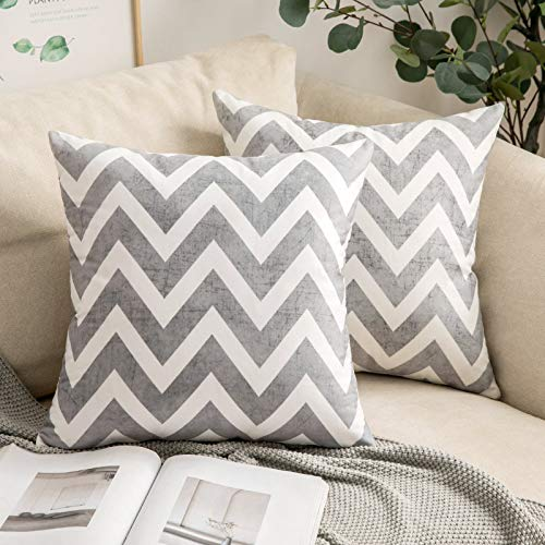 MIULEE Pack of 2 Geometric Suedette Cushion Covers Decorative Square Throw Pillow Case Luxury Pillowcases for Couch Livingroom Sofa Bed with Invisible Zipper 45cm x45cm,18x18 Inches Grey Chevron