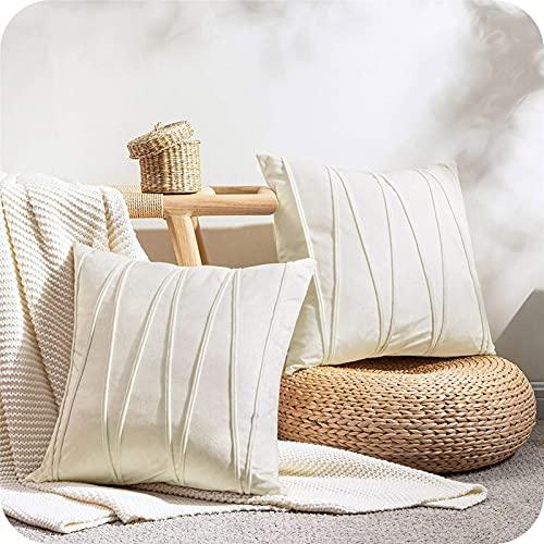 Topfinel Cream Cushion Covers 24 x 24 Velvet Throw Pillow Cases Couch Cushion Covers For Sofa Bedroom Livingroom Stripe Design Pillowcases 60cmx60cm Pack of 2