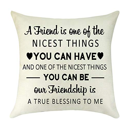 Best Friends Present Throw Pillow Cover Cushion Cover Friendship Quote Gifts Graduation Birthday Gift for Best Friends Sister BFF Decorative Pillow Case Pillowcase for Sofa Car Bedroom Office 18'x18''