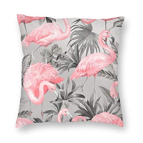 OKFUYAN Flamingo Pink Soft Grey Square Pillow Cushion Cover