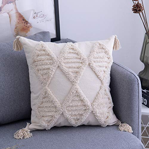 DALADA Boho Tufted Throw Pillow Case, Square Cushion Cover, Rectangle Cream Beige Tassel Woven Decorative Pillowcase Bohemian Style Decorations for Couch Sofa Bedroom Living Room Car Office