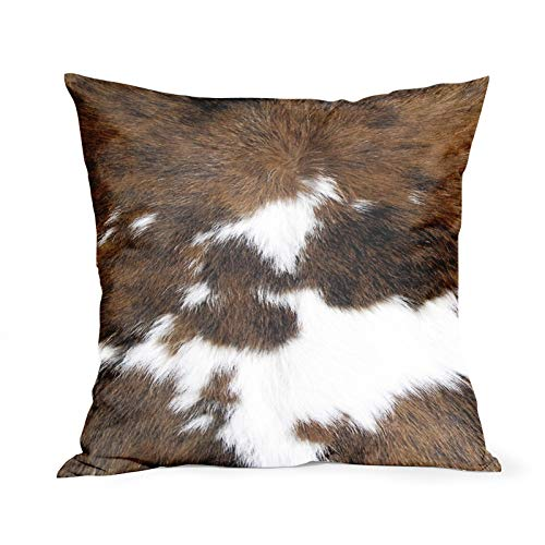 Cowhide Cushion Covers 18x18 Inch Soft Cotton Cow Skin Throw Pillow Case Brown Wildlife Animal Print Farmhouse Home Decor Cushions Cover Gift for Outdoor Car Cabin Bedroom Couch Sofa Living Room