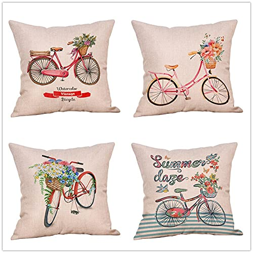 Throw Pillow Cover 80x80cm/32x32in Bicycle Flower Cushion Decorative Pillow Cover Square Double-Sided Cushion Cover 4 Pack Linen Cushion Covers,for Garden Couch Pet Sofa Bedroom Home Decoration B690