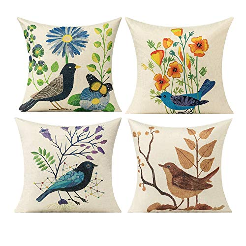 All Smiles Outdoor Cushion Covers Birds Pillows Decorative Summer Floral Outdoor for Couch Sofa Patio Home18x18 Set of 4 Cotton Linen