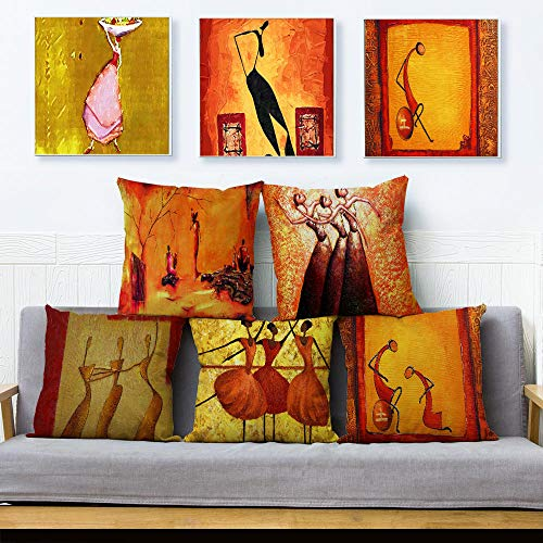 JWEK Cushion Cover Set Of 5 African Style Abstract Oil Painting Girl Linen Pillowcase 45X45Cm Hug Pillowcase Home Decoration Pillowcase