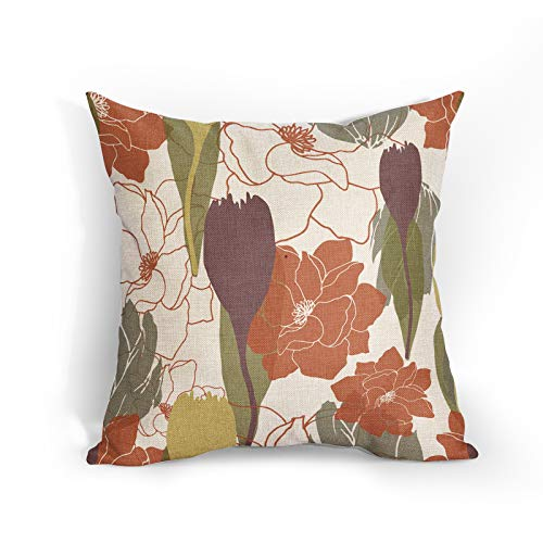 Vintage Red Flower Cushion Covers 18x18 Inch Soft Cotton Linen Floral Pillow Case Purple Green Flowers Home Decor Cushions Cover Gift for Women/Girls Outdoor Bedroom Couch Sofa Living Room