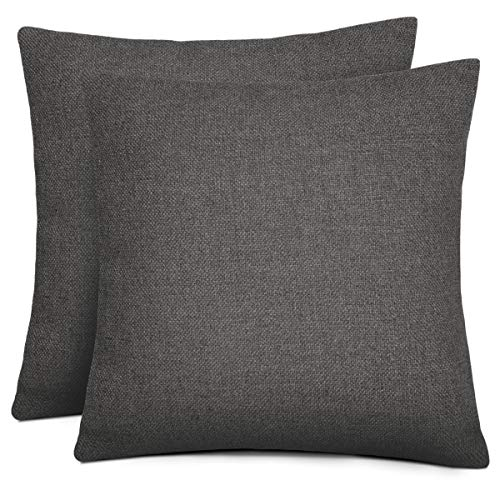 Rendiele Cushion Covers Cotton Linen Square Decorative Throw Pillow Covers for Home, Bed, Sofa, Dark Gery, 40cmx40cm,Pack of 2