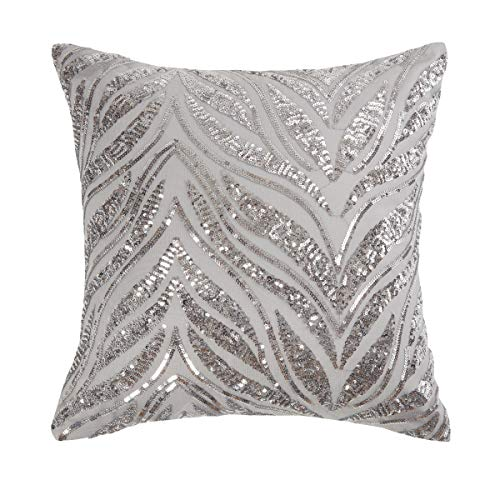 Sleepdown Sparkle Sequin Silver Grey Filled Cushion 40cm x 40cm