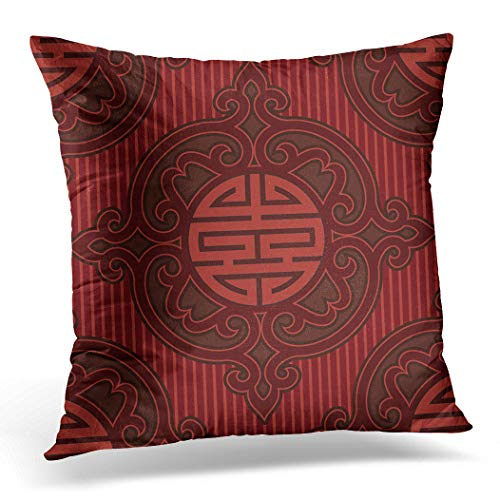 Awowee Cushion Cover 40x40cm/16x16inches Red Chinese Oriental Pattern Asian Korean Flower Traditional Culture Home Decor Throw Pillow Cover Square Pillowcase for Bed Sofa
