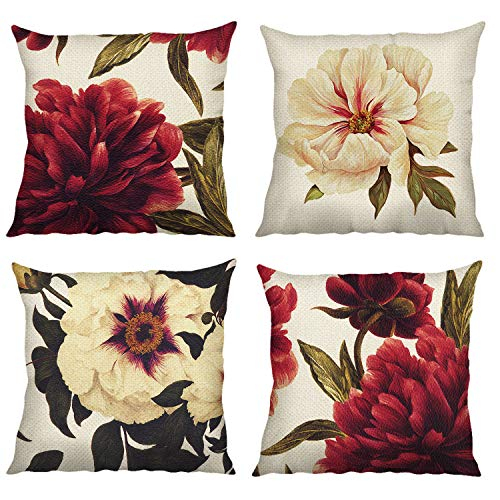 Bonhause Peony Flower Cushion Covers 18 x 18 Inch Set of 4 Red and White Floral Decorative Throw Pillow Covers Polyester Linen Pillowcases for Sofa Couch Car Bedroom Home Décor, 45cm x 45cm