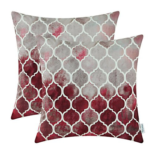 CaliTime Cushion Covers 2 Pack 45cm x 45cm Main Grey Red Burgundy Manual Hand Painted Colorful Geometric Trellis Chain Print Throw Pillow Cases