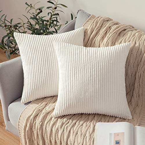 MIULEE Set of 2 Striped Corduroy Square Throw Pillow Case Soft Cushion Cover Sham Home for Sofa Chair Couch/Bedroom Decorative Fluffy Large Pillowcases 18x18 Inch 45x45cm Pure White