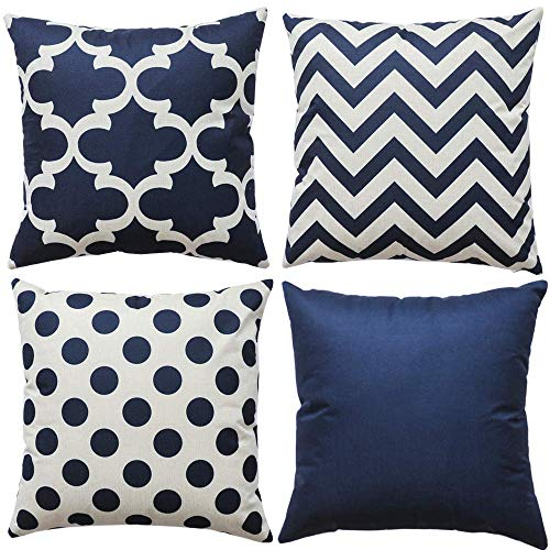 Hokdny Set of 4 Pillow Covers,30x30CM-Throw Pillow Covers Soft Square Cushion Case for Sofa Couch Chair Farmhouse Home Decor(Navy Blue Dot)
