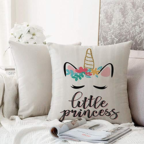 Decorative Pillowcase Throw Pillow Cushion Cover,Quote,Illustration of Little Princess Quote with Colorful Unicorn Outline Fantastic Girly,Beige,,Throw Pillow Case, Home Sofa Bedroom Decoration