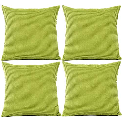 JOTOM Solid Color Corduroy Waist Throw Pillow Case Corn Kernels Soft Cushion Cover for Home Decorative Couch Sofa,45x45cm,Set of 4(Corn Kernels Green)