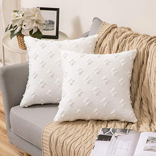 MIULEE Pack of 2 Cushion Covers Rhombus Flowers Decorative Square Throw Pillow Covers Soft for Living Room Bedroom Sofa 18 x 18 Inch 45 x 45 cm White