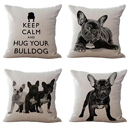 Hengjiang Cute French Bulldog Printed Linen Cotton Decorative Pillow Cushion Cover Case Dog 4 piece