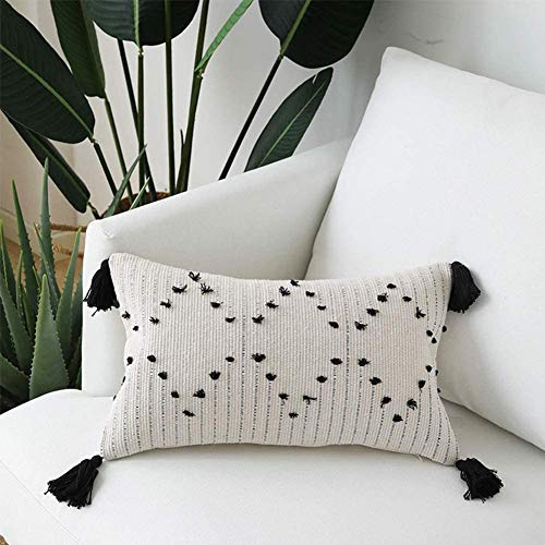 Cushion Covers, Decorative Boho Throw Pillow Covers Cotton Pillowcases with Invisible Zipper for Sofa Couch Bedroom Livingroom, Geometric Tassel Rectangle Pillow Case 30x50cm (Black and Cream)