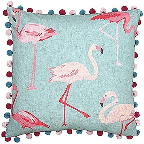 Riva Paoletti Flamingo Square Cushion Cover - Flamingo Print on Linen Fabric - Pompom Edges - Hidden Zip Closure - Duck Egg Blue and Pastel Pink - 100% Polyester - 50 x 50cm (20' x 20' inches)