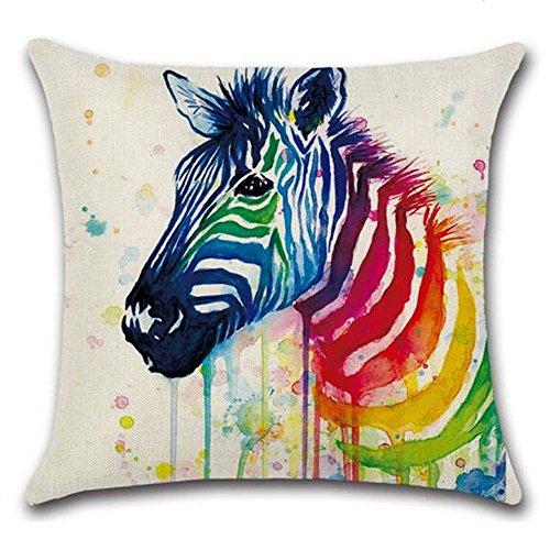 LVEDU Pillow Case 45 x 45 cm Colorful Zebra Printed Pillow Cover Linen Throw Cushion Cover for Home Decor