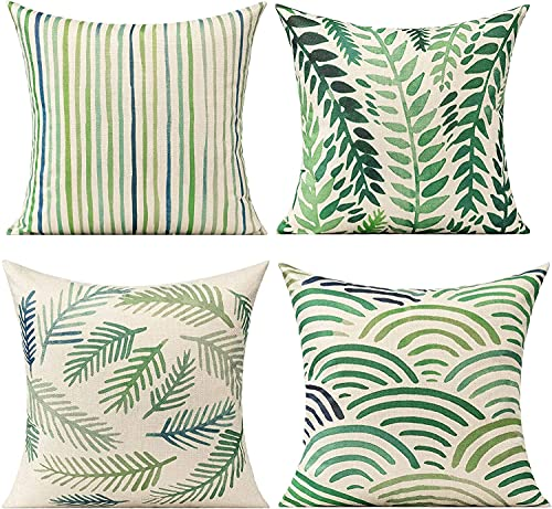 All Smiles Green Leaves Outdoor Cushion Covers Summer Plant Throw Pillow 16 x 16 Cases Decorative Tropical Rainforest Palm Spring Leaf Pillows Square Cotton Linen Set of 4 for Sofa Patio Couch