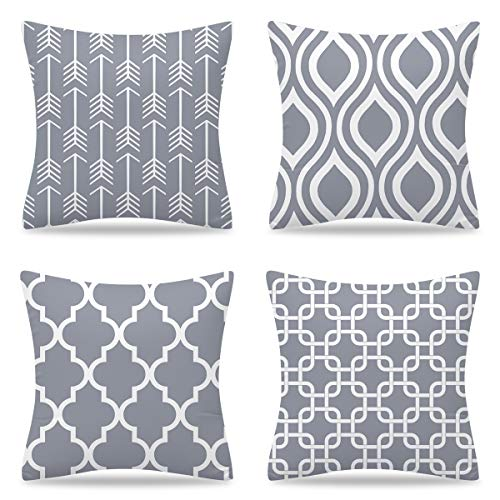 YuhooTech Outdoor Grey Cushion Covers 45 x 45cm Throw Cushion Cover Furniture Decorative Soft Cushion Cover Set of 4 Square Single-Sided Printing Pillow Cover for Home Office Sofa Couch Car Garden