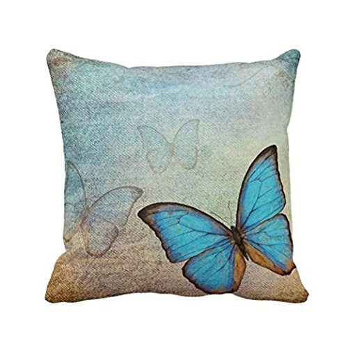 18' x 18' Cushion Covers,Deloito Butterfly Painting Linen Cushion Cover Animal Soft Warm Cotton Pillowcase Bed Sofa Cushions Covers Square Decorative Home Decor Pillowcase (Blue)