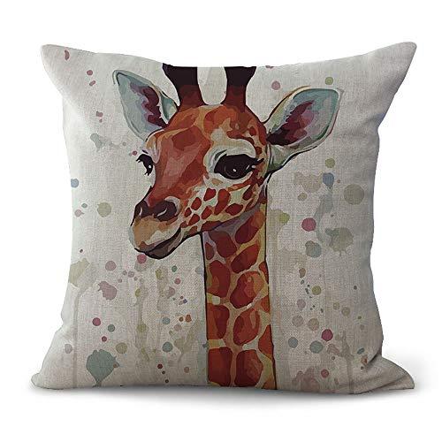 Hengjiang WEIANG Animal Cushion Covers Cartoon Deer Giraffe Elk Peacock Painting Cotton Linen 18x18/45x45cm Throw Pillow Cases For Home Sofa Bed Decorative