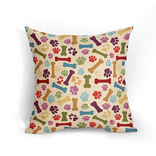 Dog Paw And Bone Cushion Covers Colorful Pet Paw Footprint Throw Pillow Covers Decorative Pillowcase Double Sides Pattern 18x18 Gifts for Pet Lover for Sofa Bedroom Living Room Patio Balcony