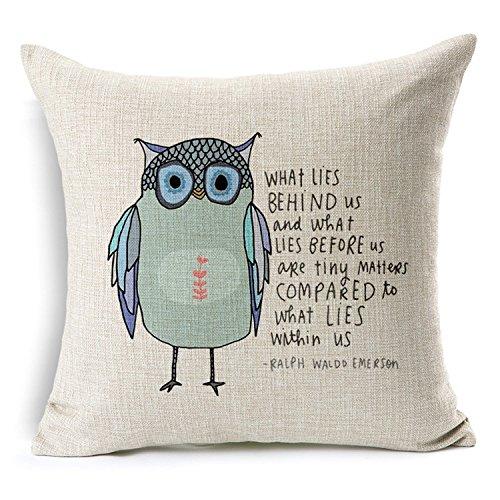 Cotton Linen Square Throw Pillow Case Decorative Cushion Cover Pillowcase Owl Sayings 18 'X18 '