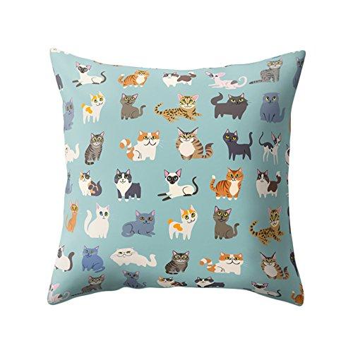 Sunwords Cute Cartoon Cat Animal Soft Throw Pillow Case Cushion Cover Home Office Sofa Decor 18' x 18'