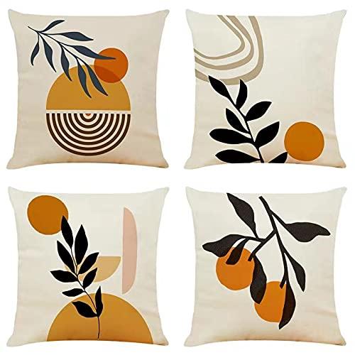 Set of 4 Boho Decorative Cushion Covers 20 x 20 Autumn Abstract Art Decor Throw Pillow Covers 50cm x 50cm Orange Plants Pillowcases for Outdoor Patio Garden Living Room Sofa Farmhouse Decor