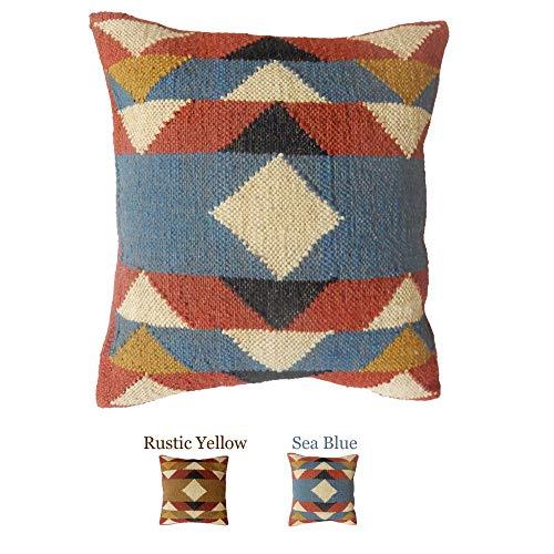 iinfinize Select - Indian Wool Jute Cushion Cover Decorative Hippie 18' Handwoven Kilim Pillowcase Zip Closure Vintage Bohemian Throw Sofa Sham Floor Pillow (A-Sea Blue)