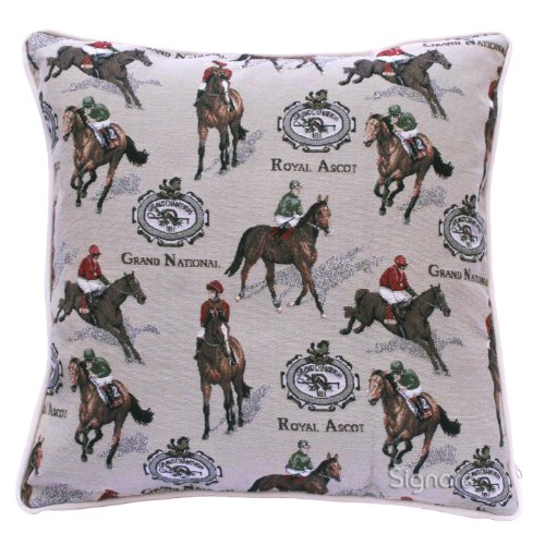 Signare Tapestry Cushion Cover 18 x18 inches 45cm x 45cm Decorative Sofa Cushions with Horse Design (Racing, CCOV-RAC)
