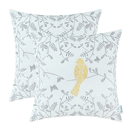 CaliTime Cotton Cushion Covers 2 Pack Cute Bird in Gray Garden Embroidered Throw Pillow Cases 45cm x 45cm Gold