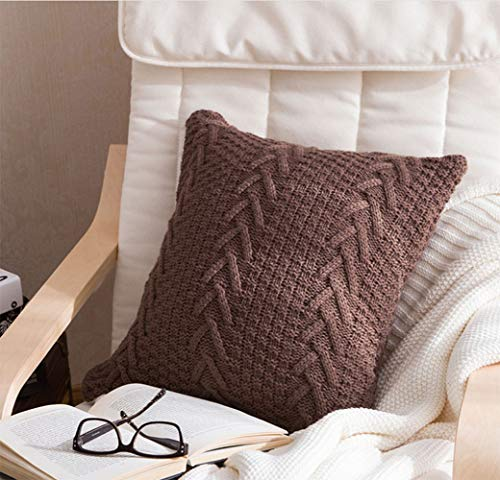 Grsafety Cushion cover - Knitted pillowcase, pillowcase, European country wool, hand-knitted, close-fitting