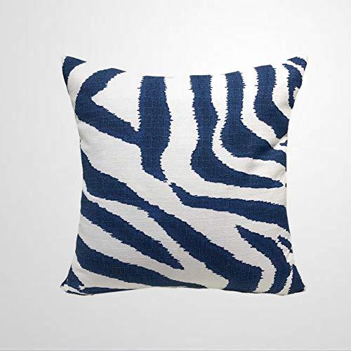 EricauBird Zebra Ikat Throw Pillow Cover Large Animal Print Navy Blue & White Pillow Case Euro Sham Lumbar Cover Accent Pillow Case Throw Pillow Cover Cushion Cover Square Pillow case Home Decor