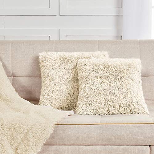 Viviland Faux Fur Cushion Covers, Decorative Plush Square Throw Pillow Covers, Fluffy Soft 45x45 cm Pillowcase Cover for Couch Sofa Bedroom Car, Pack of 2, Beige