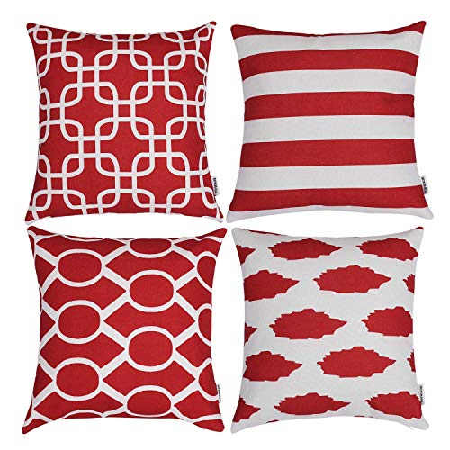 TIDWIACE Red Cushion Cover Cotton and linen Home Decorative Set of 4 - Accent Throw Pillow Covers Case Pillowcases for Outdoor garden bed couch cushions Bedroom Car with Invisible Zipper 45x45cm
