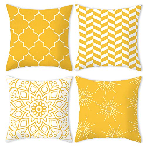 Yellow Cushion Covers 45x45 cm, Square Throw Pillow Case 18x18 Set of 4, Yellow Pop Style Geometric Striped Cotton Linen Home Decor Pillowcase for Living Room Sofa Bedroom, Outdoor Scatter Cushions