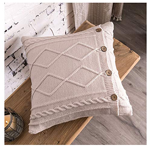 GuoCu Chunky Cable Knit Sweater Cushion Cover with Buttons 45x45cm Knitted Throw Pillow Case home Decorative Pillow Covers for Sofa Bed Pink 45 * 45cm(with Pillow core)