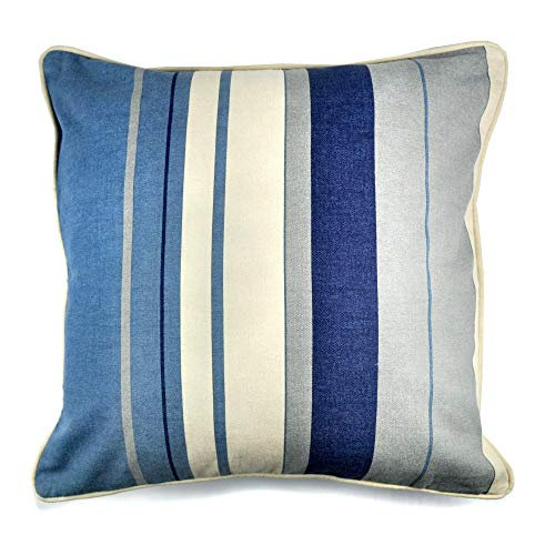 Fusion - Whitworth Stripe - 100% Cotton Cushion Cover - 43x43cm (17x17') in Blue