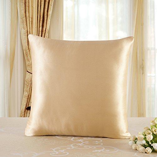townssilk Both Side 100% 19mm Silk Pillowcase 65x65cm Pillow Case Cushion Cover with Hidden Zipper Gold