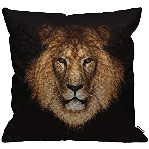 HGOD DESIGNS Cushion Cover Lion Cool Brown Lion Head On Black Background Throw Pillow Cover Home Decorative for Men/Women/Boys/Girls living room Bedroom Sofa Chair 18X18 Inch Pillowcase